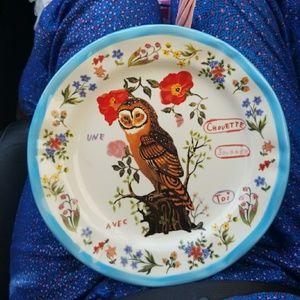 Anthropologie Owl Francophile Plate Nathalie Lete